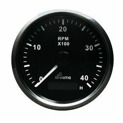 KIERROSLUKUMITTARI 4000 RPM, MUSTA