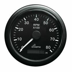 KIERROSLUKUMITTARI 8000 RPM, MUSTA